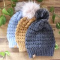 SLOUCHY BEANIE/HAT with FAUX FUR POM- Womens  - various colours