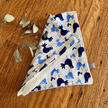 burp cloth - blue birds / organic cotton hemp / eco friendly / navy blue white
