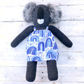 'Addie' the Sock Koala - blue rainbows - *MADE TO ORDER*