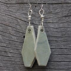 Unique handmade ceramic earrings. Great gift idea. Subtle smooth jade