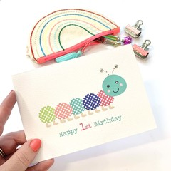 1st Birthday Card Girl, Happy Caterpillar, HBC212