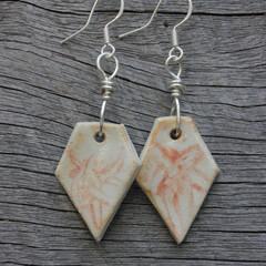 Unique handmade ceramic earrings. Great gift idea. Terracotta marble effect