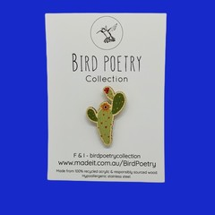 Ode To Frida Wooden Cactus Brooch