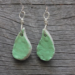 Unique handmade ceramic earrings. Great gift idea. Bright green droplets.