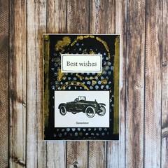 Handmade Card - BEST WISHES, vintage car