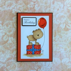 Handmade Birthday Card - HAPPY BIRTHDAY, dog, present, balloon