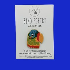 Ode To Frida Wooden Parrot Brooch