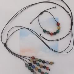 Brown Leather Adjustable Necklace & Matching adjustable Bracelet