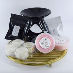 Oil burner starter kit, tealights, melts, sample melts, melt warmer set, gift