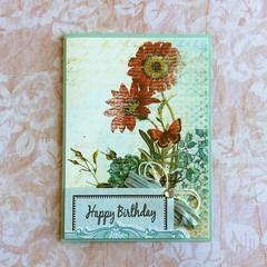 Handmade Birthday Card - HAPPY BIRTHDAY, flowers