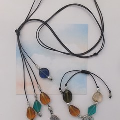 Tree of Life Leather & Glass Beaded Adj Lariet & Bracelet