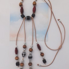 African Inspired Soft Leather Beaded Necklace