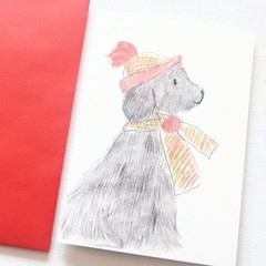 FREE POST | 4 Carol the Dog Cards | Blank Card | Thank You Birthday Christmas