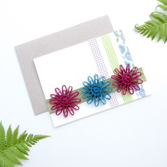 Bamboo Cotton Greeting Card Washi Paper Natural Fibre Flower Eco-friendly