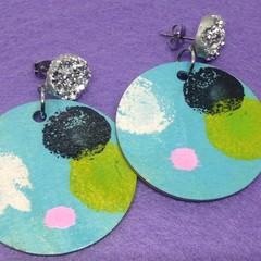 Handpainted pale blue/yellow/black/ white/pink earrings