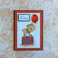 Handmade Birthday Card - HAPPY BIRTHDAY, dog, present, balloon