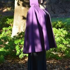 Short Purple Wool Blend Cloak