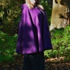 Short Purple Wool Blend Cloak