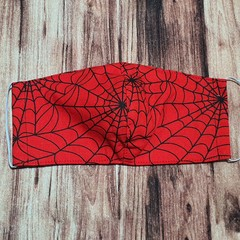Face Mask Reusable, with filter pocket, Spider Web, childs size Small