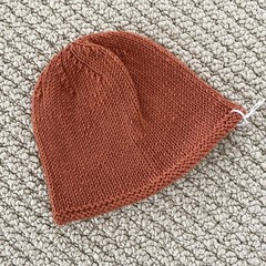 Rust Newborn Baby Hat - Hand knitted in pure wool