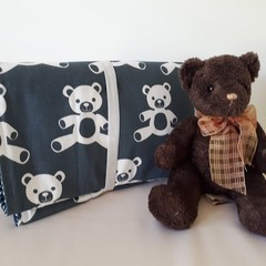 NAVY/WHITE  TEDDY BEAR -   LARGE CHANGE MAT/PLAY MAT