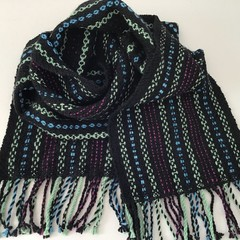 Pure Merino Wool Scarf,  Handwoven,  Black