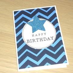 Happy Birthday card - blue chevron