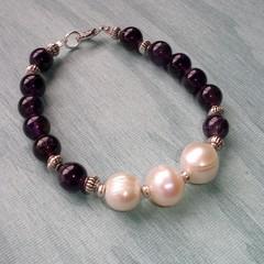 Fat Cat Originals Amethyst and Freshwater Pearl Bracelet
