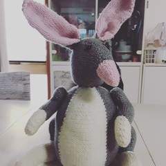 Hand knitted gret and pink Bilby toy softie