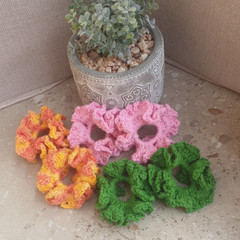 Crochet scrunchies - minis - set of 2 - 100% cotton
