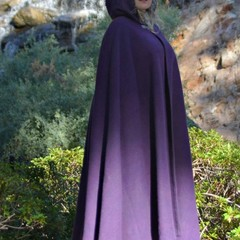 Medium Length Purple Wool Blend Cloak