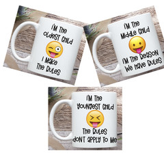 Set of 3 Emoji Coffee Mugs, Child Rules Mug Set, Older Child Mug - Middle Child