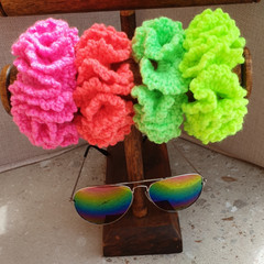 Crochet scrunchies - Full Size Retro Fluoro Gang