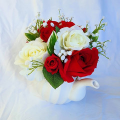 Table Flowers - Red & Cream Silk Roses with Baby's Breath  in Teapot