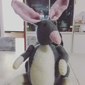 Hand knitted grey and pink Bilby toy softie