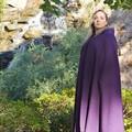 Medium Length Purple Wool Blend Cloak