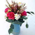 Hot Pink Silk Roses with Natives - Flowers in Blue Vase - Mothers Day Gift