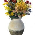 Artificial Native Flower Arrangement in Rustic Vase - Mothers Day Gift