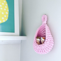 Crochet hanging pod | home decor | storage basket | PASTEL PINK