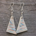 Unique handmade ceramic earrings. Great gift idea. Arty blue.