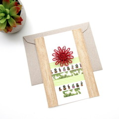 Bamboo Cotton Greeting Card Washi Paper Cactus Pot Natural Fibre Flower