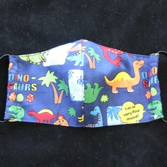 Dinosaur Fabric Face Mask Size: 3-6yrs