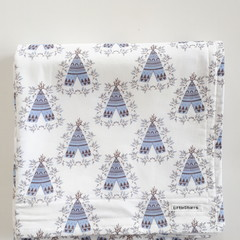 Baby Blanket - Blue Floral Tee Pee - Cotton and Flannel