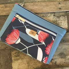 Dbl. Zip Pouch - Red Gum Blossom/Blue