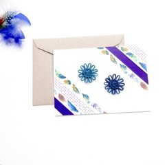 Bamboo Cotton Greeting Card Washi Paper Feather Natural Fibre Flower Blue