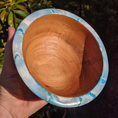 Wooden Bowl with Resin Rim