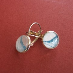 Calder- painted eardrop in sterling