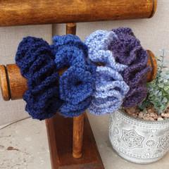 Crochet scrunchies - Full Size -  Feeling Blue