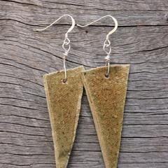Unique handmade ceramic earrings. Great gift idea. Rustic triangles