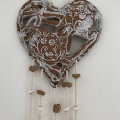 Wall Hanging /- Heart /Pottery White Speckle